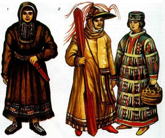 Национальные костюмы коренных народов Сибири и Дальнего Востока: 1...
